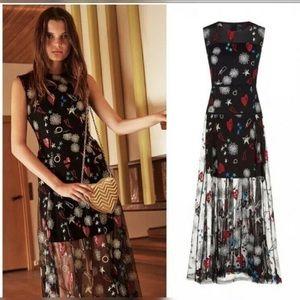 Maje Rosia embroidered tulle maxi dress